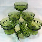6 pc Indiana Tiffin Kings Crown Thumbprint Green Footed Sherbet Dessert Cups