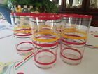 Vintage Anchor Hocking Banded Striped Glassware Tumbler-Set 5-Red Yellow Black