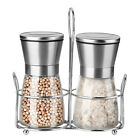 Salt and Pepper Grinder Set Stainless Steel Stand Spice Ceramic Mill Grinders