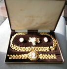 .916 22ct YELLOW GOLD PLATED NECKLACE,   BROOCH, EARINGS AND BRACELET CAMEO SET.