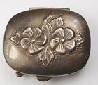 Vintage Mervyn's Sterling Silver Floral Repousse Hinged Pill Box