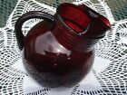 Vintage Anchor Hocking Ruby Red Tilted Ball Glass Pitcher Ribbed Collar Ice Lip