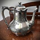 BARTON SILVERPLATE TEAPOT ETCHED FLORAL DESIGN 3519