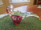 VINTAGE MURANO Venetian Glass Art Pipe Holder Burgundy  Clear with Sticker