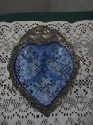 PRETTY COLBALT BLUE 3-SECTIONED HEART-SHAPED SERVING DISH WITH SILVER TRIM