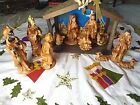 Vintage Nativity Large Figures Complete Set of 12 with Stable Japan Made