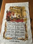 vintage linen calendar 1968, E.A.Wison, inside hearth pic with spinning wheel
