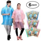 Rain Poncho for Adults - 6 Pack of PEVA Tear Resistant Thick Ponchos for Men or