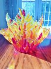 Handcrafted Fused Art Glass Vase Champagne Ice Bucket Red Orange Yellow Draped