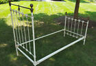 Original Antique Iron Bed Twin Size Complete w Rails Plus Brass Finials Vintage
