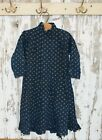 early indigo and cheddar calico child dress , antique , primitive display