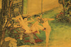 very Big Chinese Old Cloth Hand Painting Royal Life Roll Collectable ornament