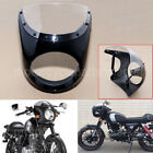 7'' Motorcycle Gloss Black Cafe Racer Headlight Lamp Fairing Screen Windshield
