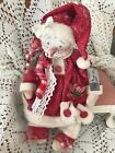 PRIMITIVE SNOWMAN DOLL WINTER RED CREAMY WOOL DRESS HEARTS MITTENS RUSTY BELLS