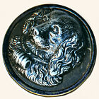Button--Large Late 19th C. St. Bernard Pewter in Japanned Brass