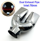 Titanium Black 76mm 3 Inlet Dual Outlet Car Tail Pipe Tip Muffler Exhaust Cover