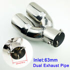 Chrome Rear Exhaust 25 inch 63mm Inlet Car Tail Muffler Pipe Tip Trim Accessory