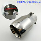 Chrome Vehicle Tail Tip Pipe Muffler Exhaust Cover Accessories 76mm 3 inch Inlet