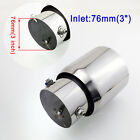 Chrome Universal 76mm 3 Inch Inlet Auto Rear Muffler Tail Throat Tip Pipe Parts