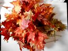 18 Artificial Fall Autumn Glittered Maple Leaves Floral Stems