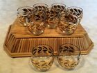 Vintage Roly Poly Bar Glasses Set of 9 w/Basket - MCM - Gold Leaf Design