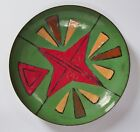 Vtg Enamel on Copper Bowl, Signed AK - Green, Red Geometric Design - Home Decor