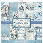 STAMPERIA DOUBLE SIDED PAPER PAD 12X12 BLUE LAND 10 SHEETS