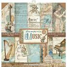 STAMPERIA DOUBLE SIDED PAPER PAD 12X12 MUSIC 10 SHEETS