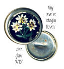 Button--Small Vintage Tiny White Flowers Under Glass in White Metal