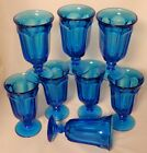 Vintage Electric Blue Sundae Soda Fountain Milkshake Glasses (Set of 8)