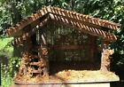 Vintage Rustic Moss Twigs Wood Nativity Creche Manger 13 1 2 x 6 1 2 x 9 3 8