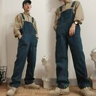 Mens Vintage Denim Overalls Wide leg Pants Hip Hop Suspenders Jeans Jumpsuit NEW