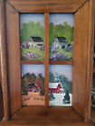 Wooden wall hanging with shelf and hand painted 4 season barn scene (0421201801)