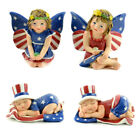 Fairy Garden Fun Fourth July Patriotic USA Red Wt Blue Fairies Set 4 Figurines