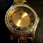NY&Co Ladies Copper Tone Crystal Accented Quartz Watcn - See Thru Case