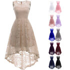 's Sleeveless High Low Lace Dress Scoop Neck Evening Party Prom Swing Dress