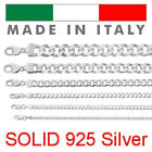 Real Solid 925 Sterling Silver Cuban Chain Mens Womens 2 14mm Italy Necklace