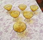 Anchor Hocking Glass Amber Clear Boopie Glasses Set of 6 each 3-1/2