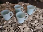 Set of 4 Fire King Delphite Azurite Blue Oven Ware D handle Coffee cups mugs.