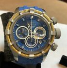 Invicta Mens 50mm Bolt Sport Swiss Chronograph Blue Dial Gold Cable SS Watch