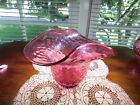 Victorian Cranberry Glass Diamond Pattern Hat Vase Blown Fenton