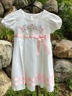 Vtg Baby Togs Toddler 5T White Party Dress Pink Satin Ribbon SS Floral Church