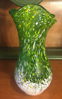Mid Century Vintage Blown Glass Vase Green White Yellow