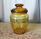 L.E. Smith Amber Glass Cookie Cracker Apothecary Jar Canister 7