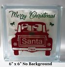 Merry Christmas Santa Claus Old Truck Decal Sticker for DIY 8 Glass Block