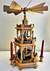 VINTAGE Weihnachts Pyramide Christmas Nativity 3 tier 17 Made in GDR