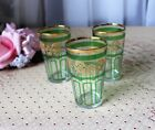3 Vintage Juice Glasses with Green and Gold Design Hand Painted 3-3/4