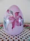FENTON HAND PAINTED FLOWERS ON DUSTY ROSE OVERLAY 5 INCH BLOWN GLASS EGG