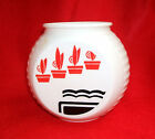 Fire King Vitrock Red Flower Pots Grease Jar - No Lid - Vintage