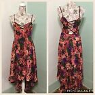 Women's AMERICAN RAG Multicolor Floral High Low Hem Spaghettini Dresss Size M